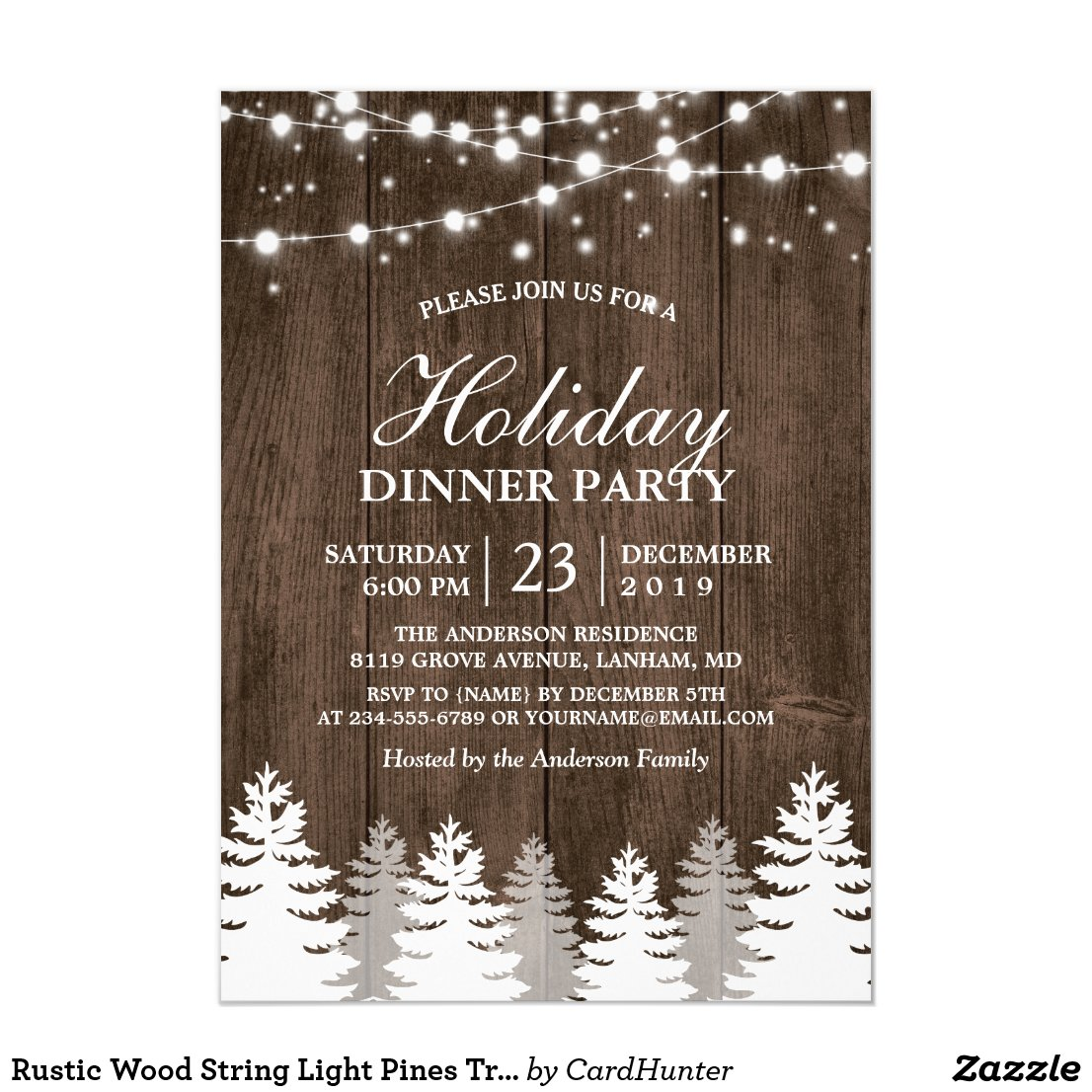 Rustic Wood String Light Pines Tree Holiday Party Invitation