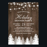 "Rustic Wood String Light Pines Tree Holiday Party Invitation<br><div class=""desc"">Rustic Wood String Light Pines Tree Holiday Party Template. (1) For further customization, please click the &quot;customize further&quot; link and use our design tool to modify this template. (2) If you prefer Thicker papers / Matte Finish, you may consider to choose the Matte Paper Type. (3) If you need help...</div>"