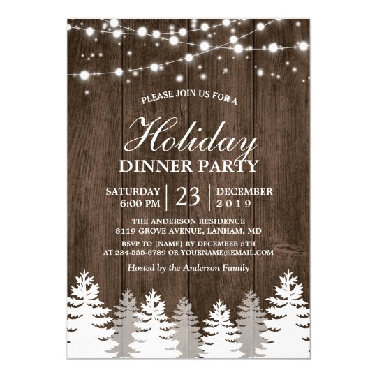 Rustic Wood String Light Pines Tree Holiday Party Invitation Zazzle