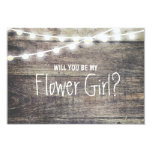 Rustic wood string light Will you be my FlowerGirl 3.5x5 Paper Invitation Card
