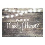 Rustic wood string light Will you be my maid of 3.5x5 Paper Invitation Card