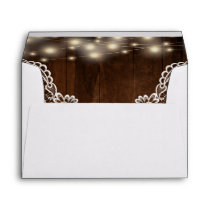 Rustic Wood String Lights and Lace | Envelope