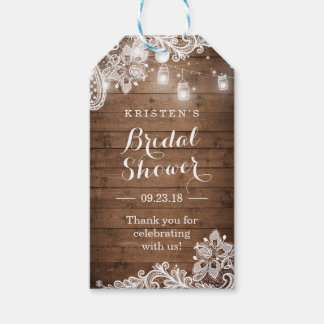 Thank You Wedding Shower Gift : Rustic Wood String Lights Bridal Shower Thank You Gift Tags