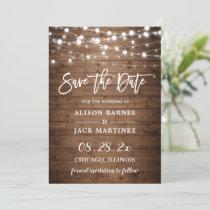Rustic Wood String Lights Brush Script Wedding Save The Date