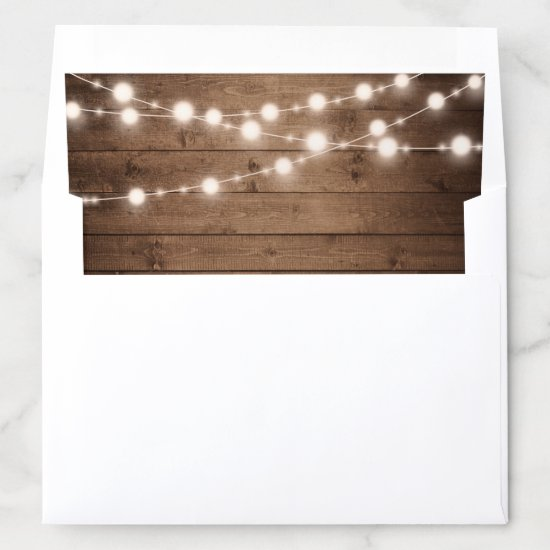 Rustic Wood String Lights Country Look Envelope Liner