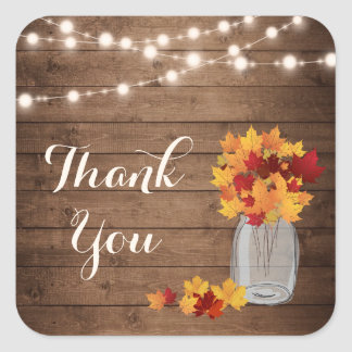 Rustic Wood String Lights Fall Mason Jar Thank You Square Sticker