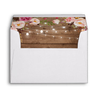 Rustic Wood String Lights Floral Custom Address Envelope