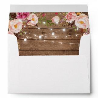 Rustic Wood String Lights Floral Custom Address Envelope