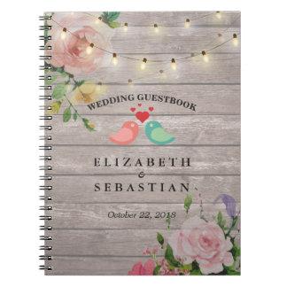 Rustic Wood String Lights Floral Wedding Guestbook Notebook