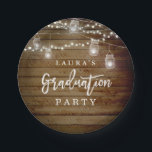 "Rustic Wood String Lights Graduation Paper Plate<br><div class=""desc"">Matching collection in the Little Bayleigh Store!</div>"