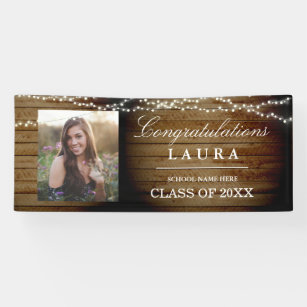 Rustic Wood String Lights Graduation Photo Banner