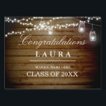 "Rustic Wood String Lights Graduation Yard Sign<br><div class=""desc"">Matching collection in the Little Bayleigh Store!</div>"