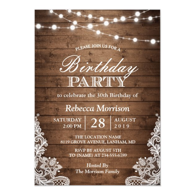 Rustic Wood String Lights Lace Birthday Party Card (back side)