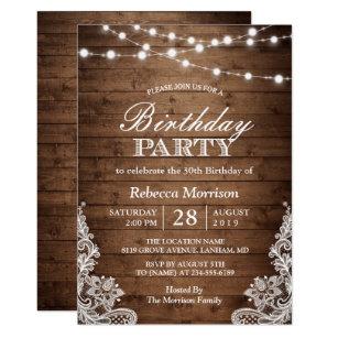 50th birthday invitations zazzle rustic wood string lights lace birthday party invitation filmwisefo