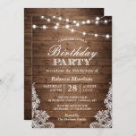 """Rustic Wood String Lights Lace Birthday Party Invitation<br><div class=""""desc"""">Create your perfect invitation with this pre-designed templates, you can easily personalize it to be uniquely yours. For further customization, please click the """"customize further"""" link and use our easy-to-use design tool to modify this template. If you prefer Thicker papers / Matte Finish, you may consider to choose the Matte...</div>"""