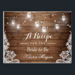 "Rustic Wood String Lights Lace Bridal Recipe Card<br><div class=""desc"">================= ABOUT THIS DESIGN ================= Rustic Wood String Light Lace Bridal Shower Recipe Card . (1) For further customization, please click the &quot;Customize it&quot; button and use our design tool to modify this template. All text style, colors, sizes can be modified to fit your needs. (2) If you need help...</div>"