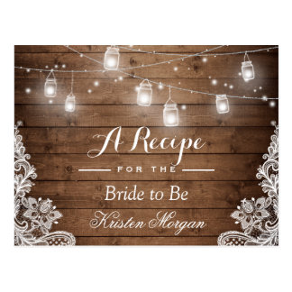 Rustic Wood String Lights Lace Bridal Recipe Card