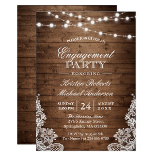 Rustic Wood String Lights Lace Engagement Party Invitation