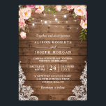 """Rustic Wood String Lights Lace Floral Farm Wedding Card<br><div class=""""desc"""">Create the perfect Rustic Wedding invite with this &quot;Rustic Wood String Lights Lace Floral Wedding Invitation&quot; template. This high-quality design is easy to customize to match your wedding colors, styles and theme. (1) For further customization, please click the &quot;customize further&quot; link and use our design tool to modify this template....</div>"""
