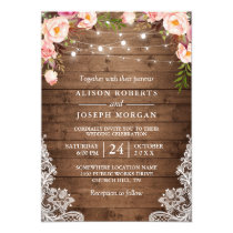 Rustic Wood String Lights Lace Floral Farm Wedding Card