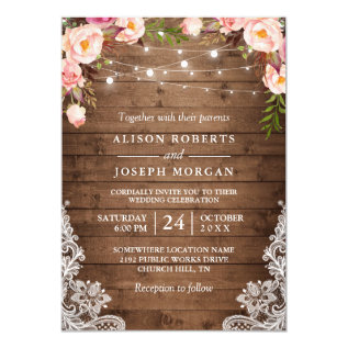 Rustic Wood String Lights Lace Floral Farm Wedding Card at Zazzle