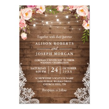 Rustic Wood String Lights Lace Floral Farm Wedding Card by CardHunter at Zazzle