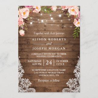 Rustic Wood String Lights Lace Floral Farm Wedding Invitation