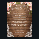 "Rustic Wood String Lights Lace Floral Farm Wedding Invitation<br><div class=""desc"">Create the perfect Rustic Wedding invite with this ""Rustic Wood String Lights Lace Floral Wedding Invitation"" template. This high-quality design is easy to customize to match your wedding colors, styles and theme. (1) For further customization, please click the ""customize further"" link and use our design tool to modify this template....</div>"