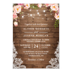 Rustic Wood String Lights Lace Floral Farm Wedding Invitation at Zazzle
