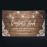 """Rustic Wood String Lights Lace Graduation Party Banner<br><div class=""""desc"""">Rustic Wood Mason Jar String Lights Lace Graduation Party Banner.  (1) For further customization,  please click the &quot;customize further&quot; link and use our design tool to modify this template.  (2) If you need help or matching items,  please contact me.</div>"""
