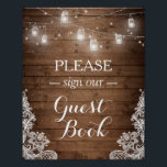 "Rustic Wood String Lights Lace Sign Guestbook<br><div class=""desc"">================= ABOUT THIS DESIGN ================= Rustic Wood String Lights Lace Sign Guestbook Poster. (1) The default size is 8 x 10 inches, you can change it to any size. (2) For further customization, please click the &quot;Customize&quot; button and use our design tool to modify this template. All text style, colors,...</div>"