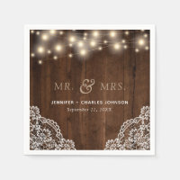 Rustic Wood String Lights Lace | Wedding Napkin