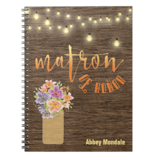 """Rustic Wood String Lights """"Matron-of-Honor"""" Notebook"""