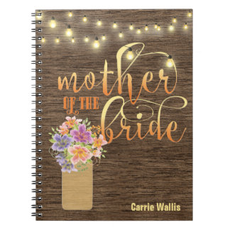 Rustic Wood String Lights Mother of the Bride Spiral Notebook