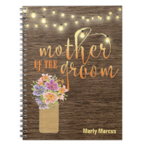 Rustic Wood String Lights Mother of the Groom Notebook