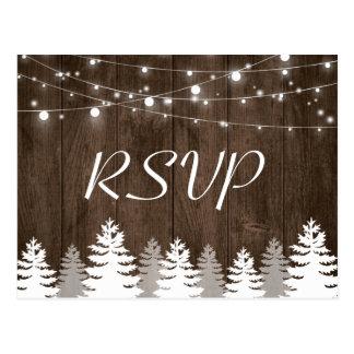 Rustic Wood String Lights Pine Trees Wedding RSVP Postcard