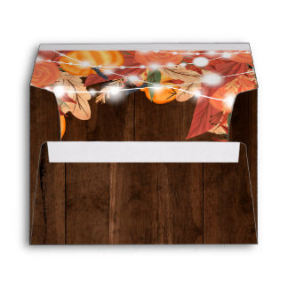 Rustic wood string lights pumpkin leaf  address envelope