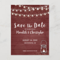 Rustic Wood String Lights Save the Date Announcement Postcard
