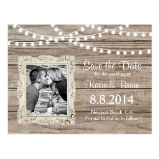 Rustic wood String Lights Save the Date Postcard