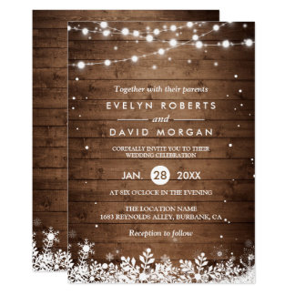 Rustic Wood String Lights Snowflake Winter Wedding Invitation