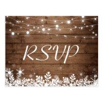 Rustic Wood String Lights Snowflakes Wedding RSVP Postcard