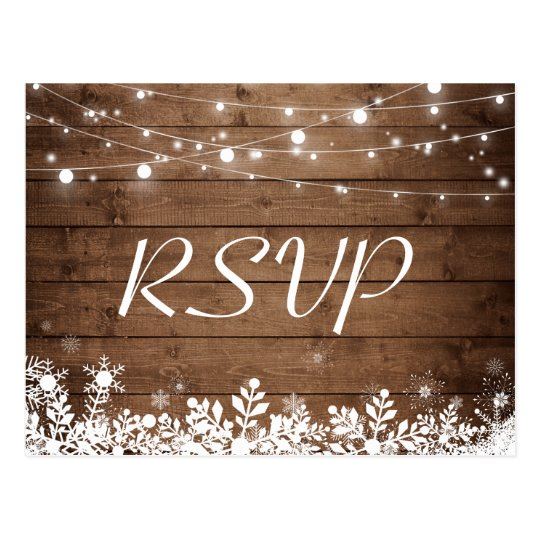 rustic wood string lights snowflakes wedding rsvp postcard