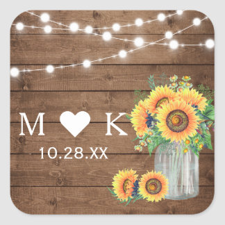 Rustic Wood String Lights Sunflowers Wedding Favor Square Sticker