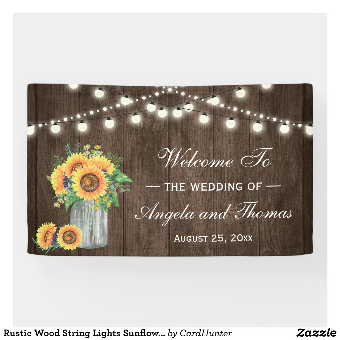 Rustic Wood String Lights Sunflowers Wedding Party