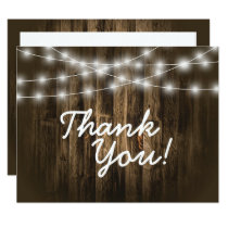 Rustic Wood String Lights Thank You Note Card