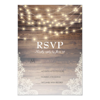 Rustic Wood & String Lights   Vintage Lace RSVP Invitation