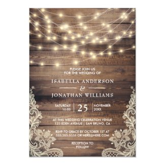 Rustic Wood & String Lights | Vintage Lace Wedding Card