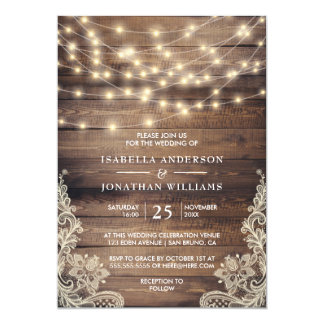 Rustic Wood & String Lights | Vintage Lace Wedding Card