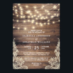 "Rustic Wood & String Lights | Vintage Lace Wedding Invitation<br><div class=""desc"">ABOUT THIS DESIGN: Rustic Wood & String Lights 
