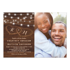 Rustic Wood String Lights Wedding Photo Invitation
